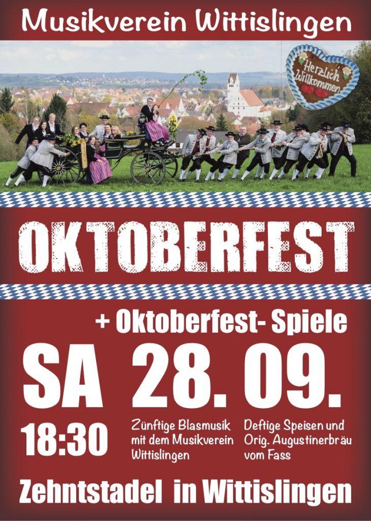 Plakat - Oktoberfest - Samstag 28. September um 18:30 Uhr im Zehentstadel in Wittislingen