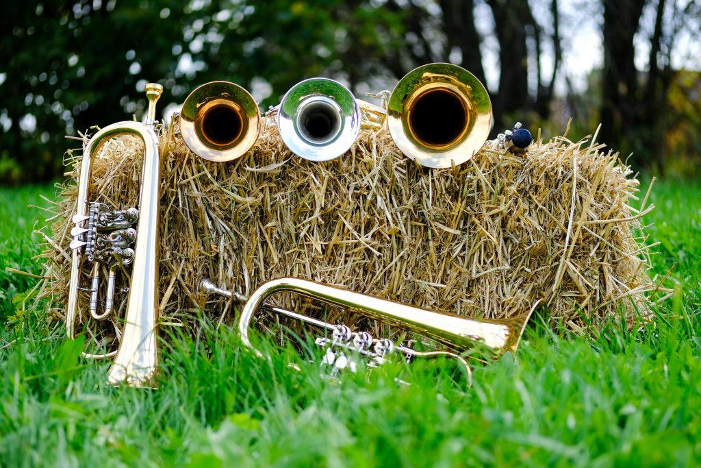 Trompeten, Flügelhörner und eine Klarinette mit Strohballen im grünen Gras